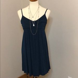 Blue Strappy Dress in Cotton Very Flattering Fit!